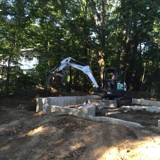 Foundation work began in late July.